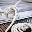 White mooring rope - Stock Photo