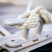 Steel anchor on boat or ship. — Stock Photo
