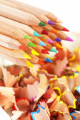 Colorful pencils and shavings — Stock Photo