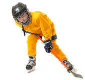 Youth hockey player in crouch position — Stock Photo