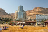Modern hotels ashore the Dead sea — Stock Photo