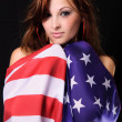 Girl with American flag - Stock Photo
