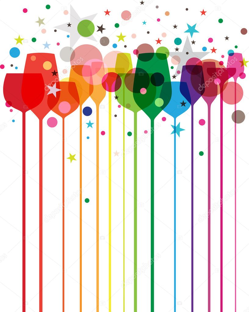 Colorful Party Decorations Glasses With Decorations
