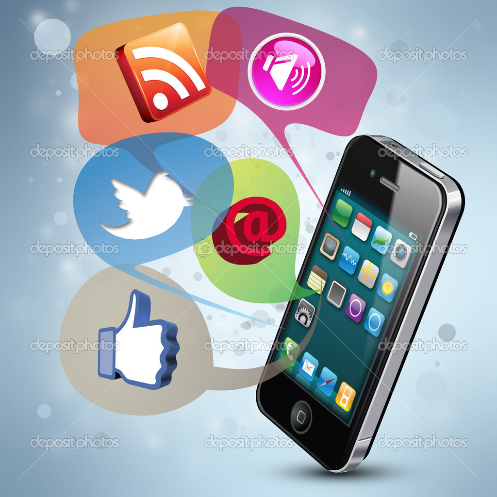 Modern illustration demonstrating social media on a smartphone — Stock Photo #8699839