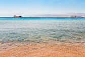 View on Israel mountain through Red Sea from Aqaba port — Stock Photo