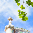 Green leafs and Casa Batllo, Barcelona - Stock Photo