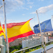 Stock Photo: Catalan, Spanish, EU flags under Barcelona