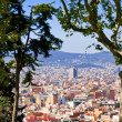 Foto Stock: Panorama of Barcelona city from Montjuic hill
