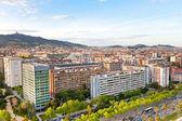 View on Barcelona avenue Diagonal and Tibidabo Mountain — Stock Photo