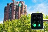 Building construction and green light — Stock Photo