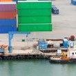 Boat in cargo port - Stock Photo