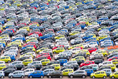 Big car parking in Copenhagen harbor — Stock Photo