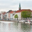 Frederiksholms Kanal and view on Town Hall tower in Copenhagen — Stock Photo