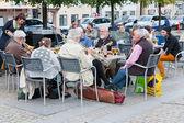 Small amateur jazz band in outdoor restaurant in Copenhagen — Stock Photo