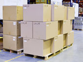 Carton boxes in storage warehouse — Stok fotoğraf