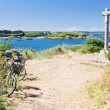 Tourist bicycles on island Ile de Brehat in Brittany - Stock Photo