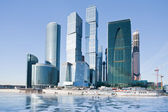 View on new Moscow City buildings in winter — Stok fotoğraf