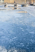 Ice blocks on frozen Moscow river — Stock Photo