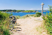 Tourist bicycles on island Ile de Brehat in Brittany — Foto Stock