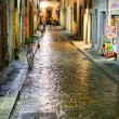 Stok fotoğraf: Medieval street in Florence Italy at night