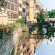 Ill river canal in old town (Strasbourg, France) - Foto Stock