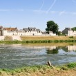 Riverside small provincial town Amboise on the bank of Loire, France - Stock Photo