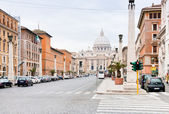 View on St.Peter Basilica from via Conciliazione in Rome — Stock Photo