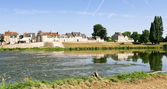 Riverside small provincial town Amboise on the bank of Loire, France — Stock Photo