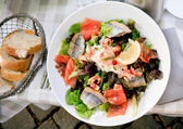 Lunch - plate of big salad with with salmon and herring — Stock Photo