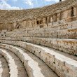 Stone seats in antique Large South Theatre , Jerash — Stock Photo