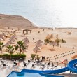 Resort sand beach on Dead Sea coast — Stock Photo