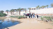 Baptized in Jesus Christ baptism site in Jordan River — Stock Photo