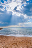 Sunbeams above Dead Sea — Stock Photo