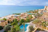 Panorama of resort on Dead Sea coast — Photo