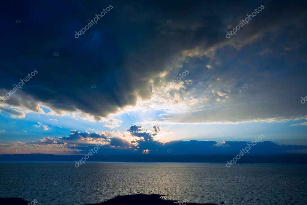 Dark blue sunset on Dead Sea, Jordan  Stock Photo #9562075