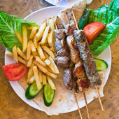 Skewers mix arabic kebabs — Stock Photo