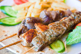 Skewers with mix arabic kebabs close up — Stock Photo