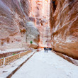 Way through Siq gorge to stone city Petra, — Stock Photo