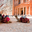 Stock Photo: Camels and bedouin on Treasury plazin antique city Petra