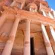 Facade of The Treasury Monument in antique city Petra — Stock Photo