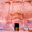 Nabatean tombs in the Siq, Petra - Stock Photo
