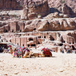 Bedouin camp on Street of Facades, Petra, Jordan — Stock Photo