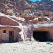 Modern bedouin house in ancient cave in Petra — Stock Photo