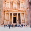 Treasury Monument and plaza in antique city Petra - Stock Photo