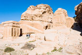 Jinn Blocks and relief of obelisk in Bab as-Siq, Petra, — Stock Photo