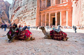 Camels and bedouin on Treasury plaza in antique city Petra — Stock Photo