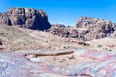 Multicolored stone dessert in Petra valley, Jordan — Stock Photo