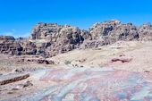 Multicolored stone dessert in Petra valley — Stock Photo
