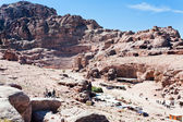 View on ancient Theater and Facade Street in Petra — Stock Photo