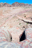 Manycolored stone landscape of Petra valley — Stock Photo